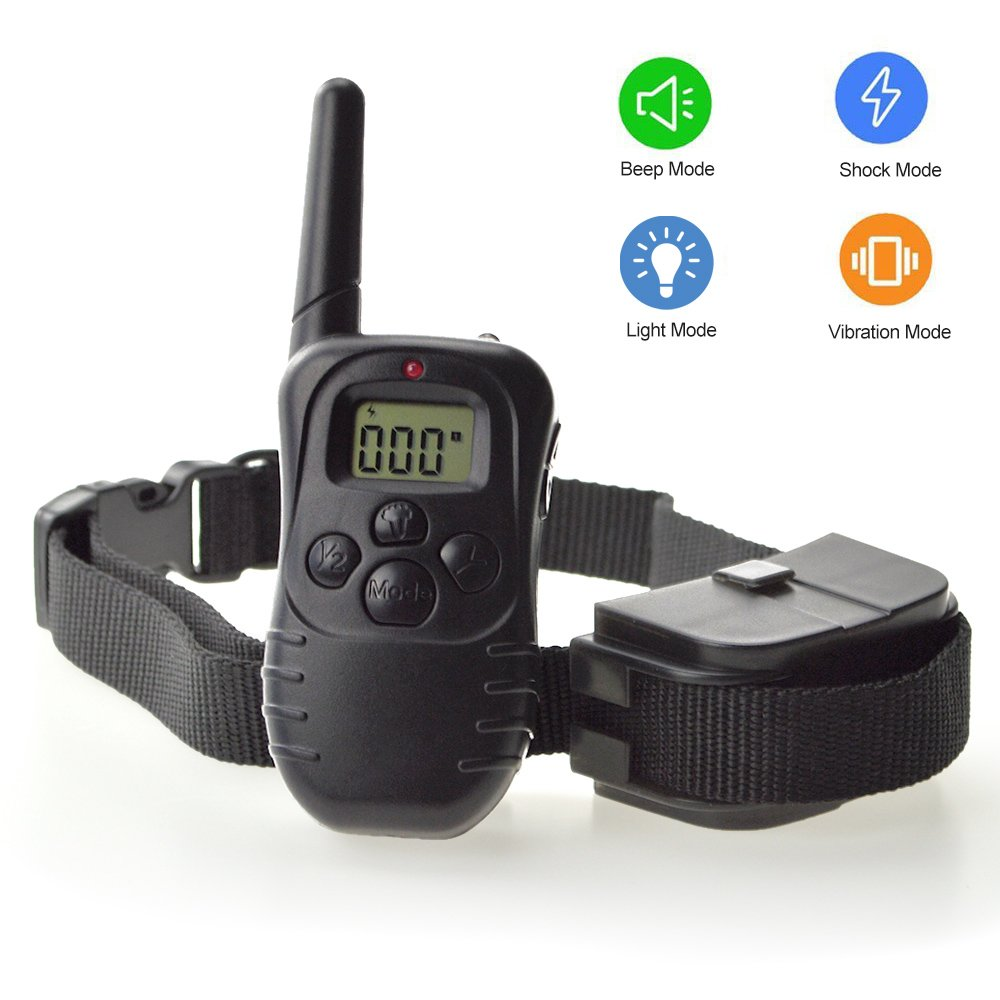 Dog Training Collar, Outdoor Pet trainer, Shock Bark Collar With Remote, Electronic For Large Small dogs- Waterproof, 15Lbs - 100Lbs, 300 Meters Range