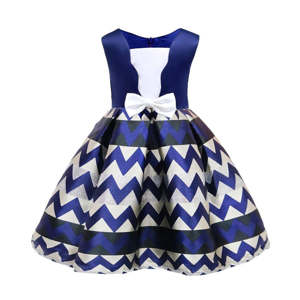 KaiCran Little Girls Dress,Fashion Little Girls Princess Dress Bridesmaid Pageant Gown Birthday Party Wedding Dress (Blue, 100(1-2 yrs))