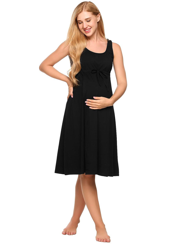 Ekouaer Women\'s Maternity Dress Pregnant Nursing Elegant Nightgown ...