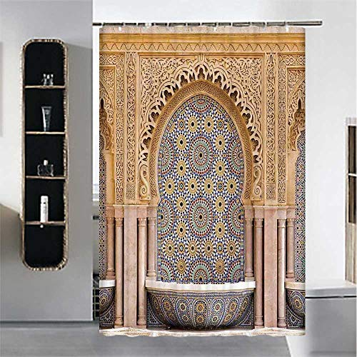 YOLIYANA Moroccan Decor Waterproof Shower Curtain,Typical Moroccan Tiled Fountain in The City of Rabat Near The Hassan Tower for Hotel,70