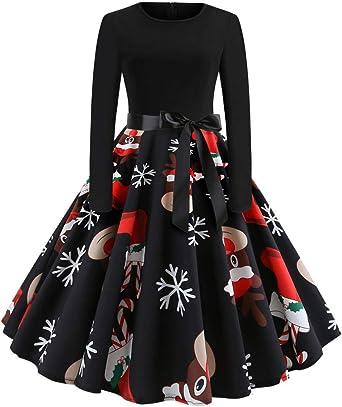 WUSIKY sukienka bożonarodzeniowa dla kobiet, prezent dla kobiet, sukienka bożonarodzeniowa w stylu vintage, nadruk z długim rękawem, na Boże Narodzenie, imprezę, swing, sukienka: Odzież