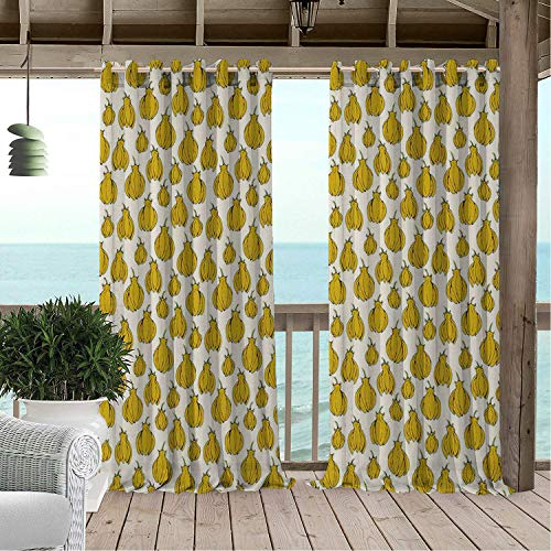 Linhomedecor Gazebo Waterproof Curtains Tropical Flowers of Ylang Ylang Cananga Tree Herbal Treatment Exotic Plant Earth Yellow and Off White pergola Grommets Parties Curtain 72 by 72 - Ylang Ylang Leg