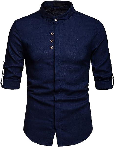 GAOHONGMEI - Camiseta de algodón de lino para hombre, cuello ...