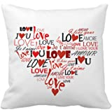 Love You Heart Home Decor Throw Pillow Cover Cotton Polyester Cusion Cover 18 x 18 Inches(Valentine's Day Gift)