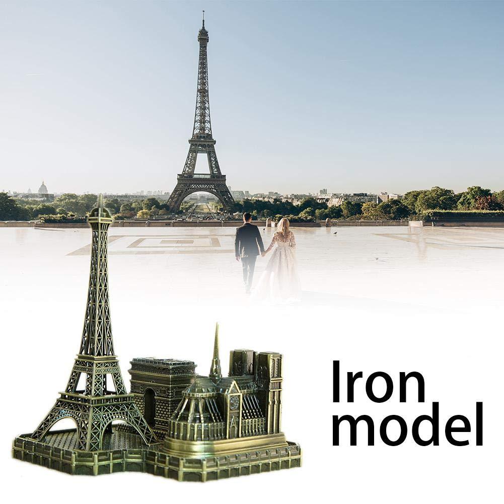 liuxi Notre Dame Modèle Souvenir Décoration en Métal Notre Dame Triomphal Arch Tower Ornements pour Home Office Salon