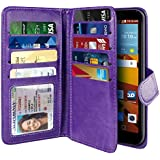 NEXTKIN LG G Stylo LS770 Case, Leather Dual Wallet Folio TPU Cover, 2 Large Pockets Double flap Privacy, 9 Card Slots Snap Button Strap For LG G Stylo LS770 G4 Note G Vista 2 H740 2nd 2015 - Purple