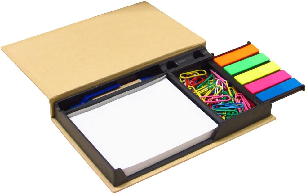 Sticky Notes Organizer with Paper Clips and Pen Neat and Compact- White Notepad & Five Sets of Index Flags - Amazing Kids, Students Gift! Mini Bundle Desk Accessory. by Mega Stationers