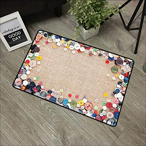 Hall mat W31 x L47 INCH Vintage,Buttons Collection Fabric Texture Canvas Frame Sewing Needlecraft Contemporary Picture,Light Brown Non-Slip, with Non-Slip Backing,Non-Slip Door Mat Carpet