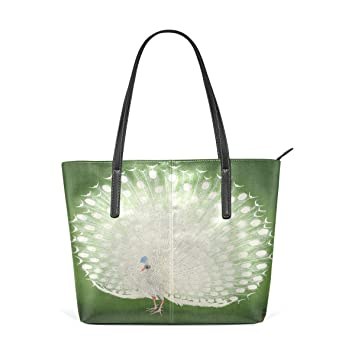 a2d52409e2de7 Image Unavailable. Image not available for. Color: Peacock Women's PU  Leather Tote Shoulder Bags Handbags Casual Bag