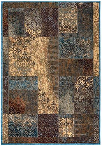 Rizzy Home Bellevue Collection Polypropylene Tan/Khaki/Blue/Burgundy Patchwork Area Rug 7'10