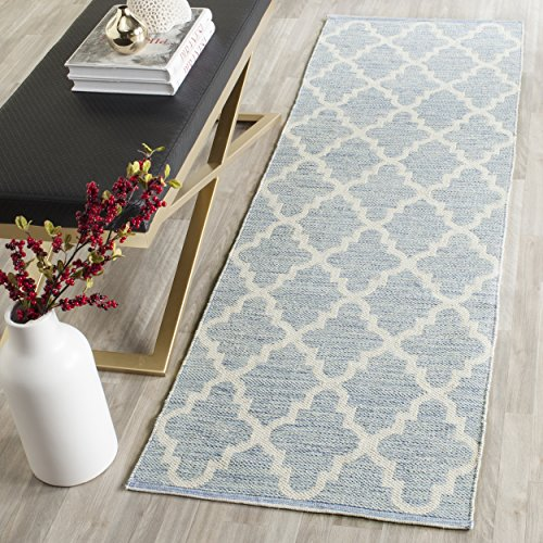 Safavieh Montauk Collection MTK810B Handmade Flatweave Light Blue and Ivory Cotton Runner (2'3 x 9′)