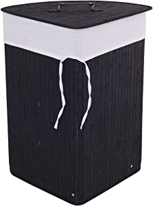 GOFLAME Corner Bamboo Laundry Hamper with Lid and Removable Liner, Washing Clothes Basket Storage Bin with Handle, Suitable for Bedroom, Bathroom, Laundry (Black)