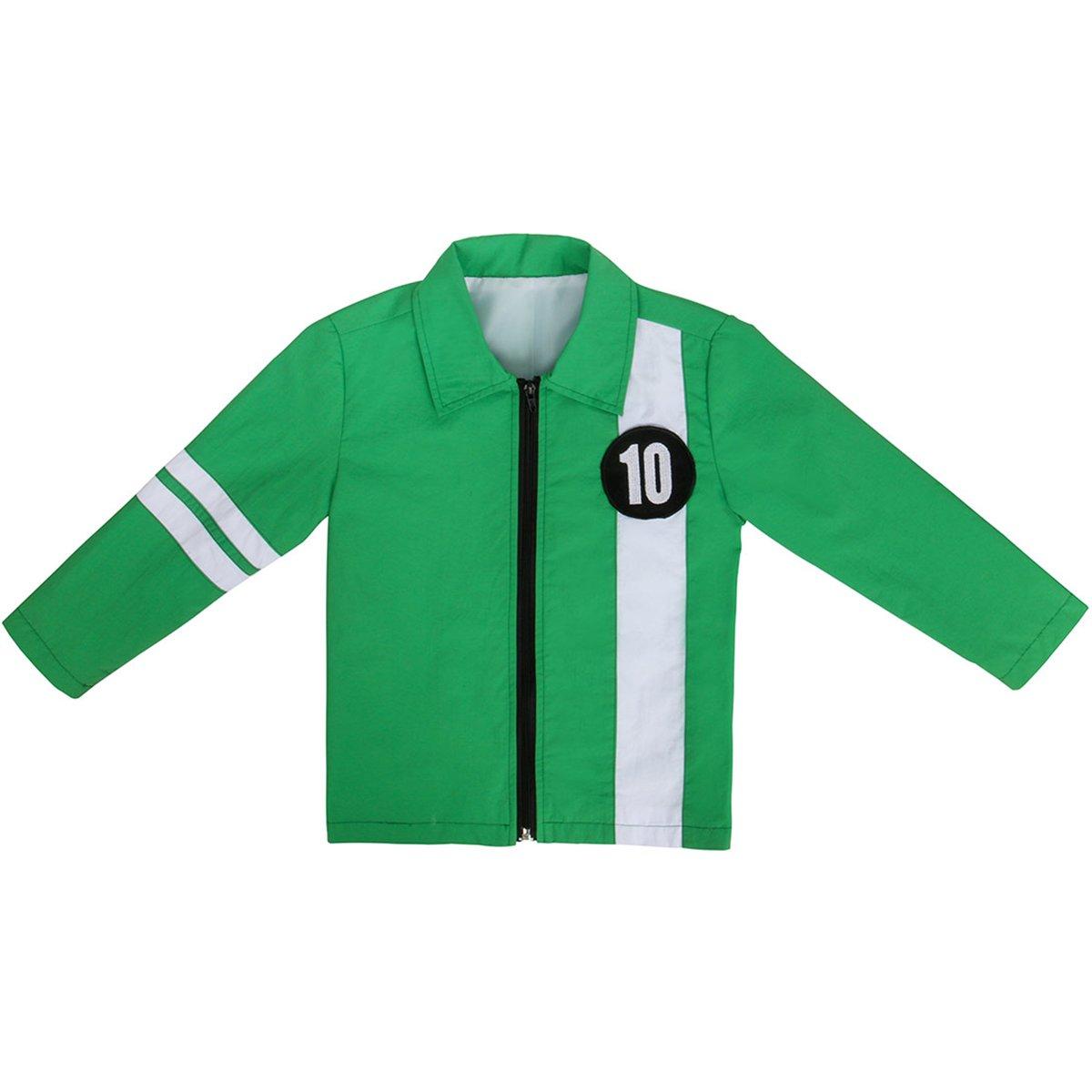 Nofonda Giacca Verde, Ricamo No.10, Costume Sportiva Quotidiano per Bambini per Cosplay, Halloween, Carnevale, Festa
