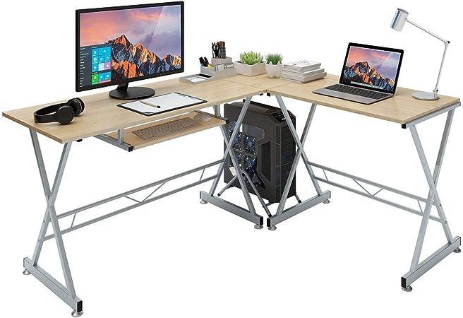 SLYPNOS Escritorio de Esquina, Mesa de Ordenador en Moderno Forma L, Mesa de Estudio Esquina, MDF+Acero, Capacidad máxima 50 Kg para Hogar, Oficina, Estudio (Roble-A): Amazon.es: Hogar