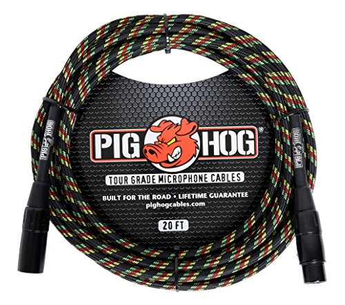 High Performance Microphone Cable (Pig Hog PHM20RAS High Performance Rasta Stripes Woven XLR Microphone Cable, 20 ft.)