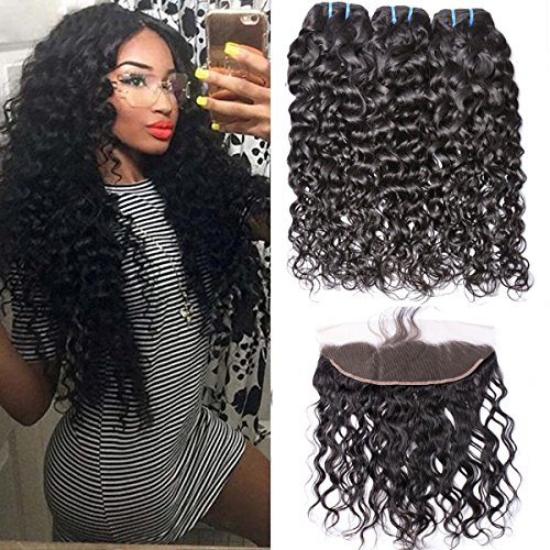 Brazilian Water Wave Virgin Hair 3 Bundles With Lace Frontal Closure (14 with 16 18 20) 100% Unprocessed Human Hair Weave With Ear to Ear Pre Plucked Frontal Closure Bleached Knots with Baby Hair
