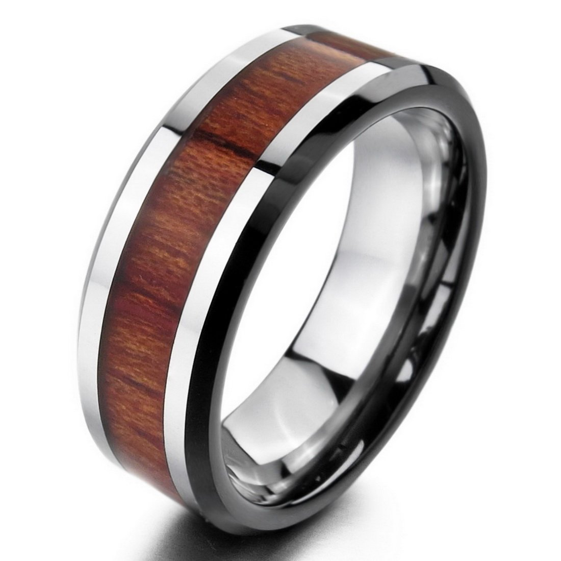 INBLUE Men's Tungsten Wood Ring Band Silver Tone Brown Comfort Fit Size10