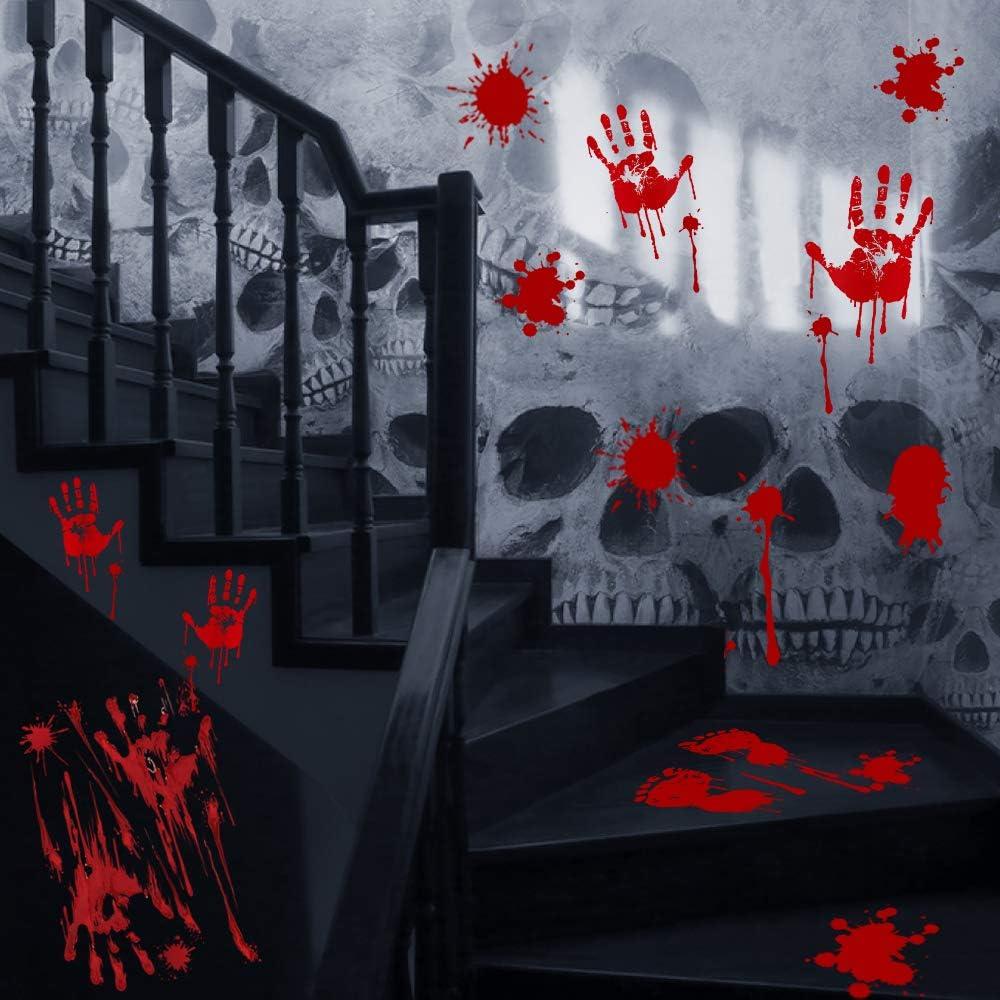 Rouge VZATT Halloween Sanglante Mains Autocollants Fen/être Halloween D/écoration de f/ête pour Maisons hant/ées Salle De Bains Mur Zombie Sorci/ère Diable Party