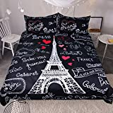 Bedding Duvet Cover Set Twin Full King Queen 3pcs Black White Paris Eiffel Love Tower French Hearts Printed Microfiber Skin Friendly Soft Comfort Home Hotel Decorative (US Queen)