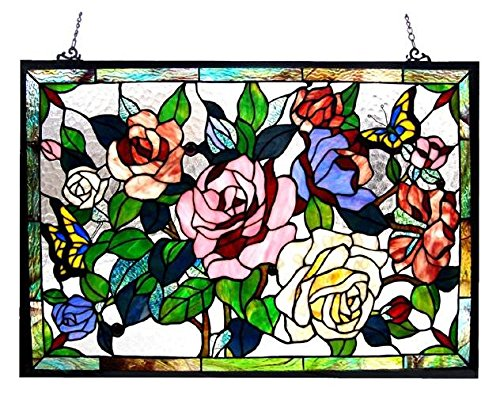 Hang Stained Glass Window (Roses Design Glass Panel)