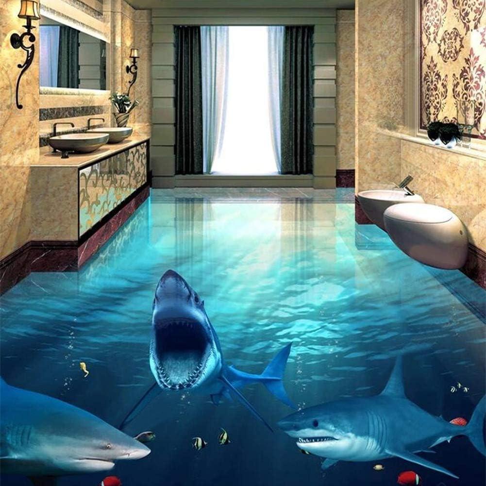 3D Floor Wallpaper Modern Shark Submarine World Murals - Self Adhesive PVC 3D Tiles Floor Stickers Bathroom Wallpapers 47X39in