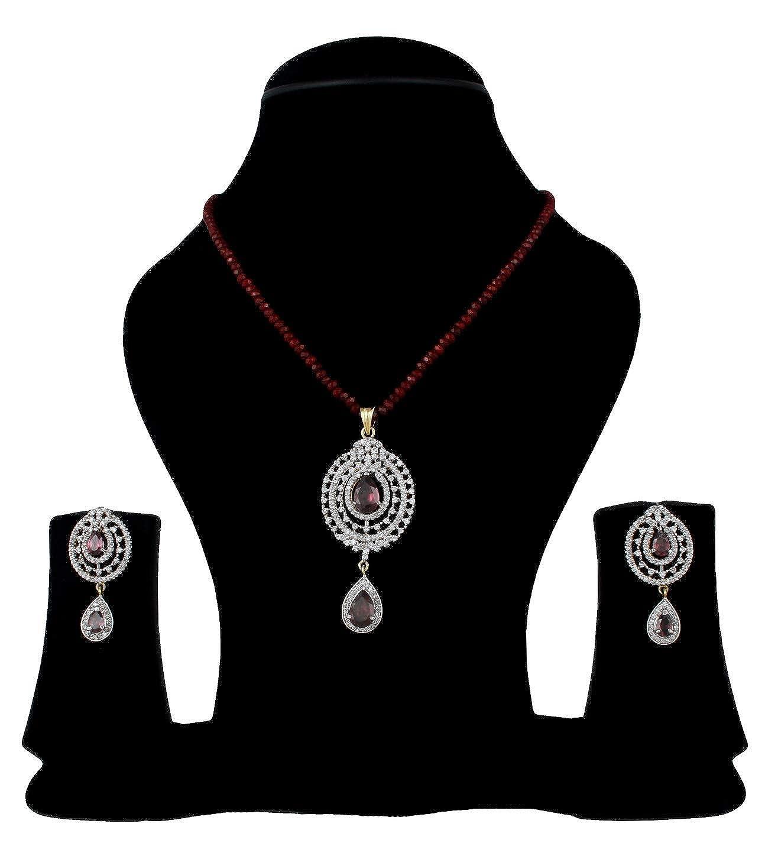 Babosa Sakhi Cubic Zirconium Party Wear Pendant Set Wine Stone No String