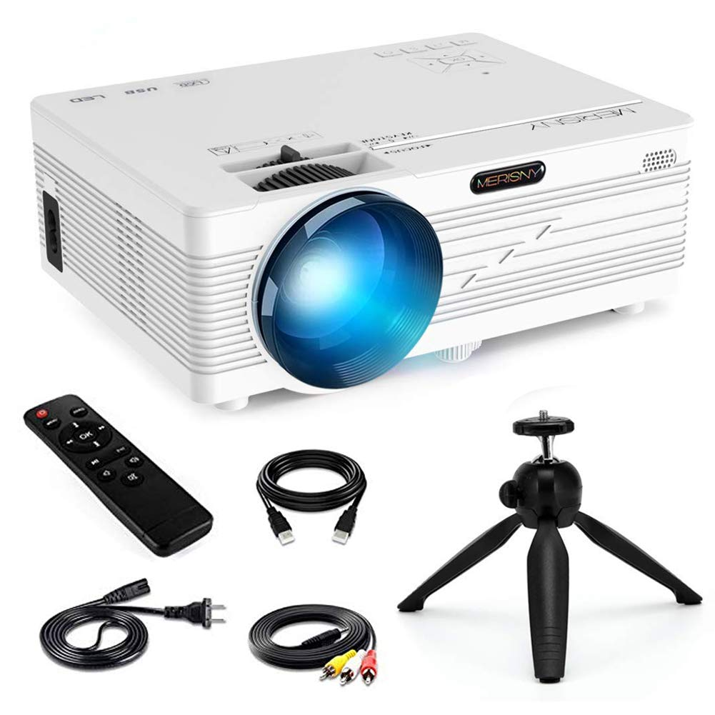 Mini Projector,Merisny 2400 Lumens Video Projector Portable 176'' Display Full HD 1080P Projector,Support HDMI/VGA/AV/Micro SD/USB, Laptop/TV Box/PS4/Phone for Home Theater Entertainment (2019 Newest)