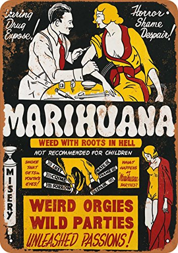 Wall-Color 9 x 12 METAL SIGN - 1936 Marijuana Weed Roots in Hell - Vintage Look Reproduction