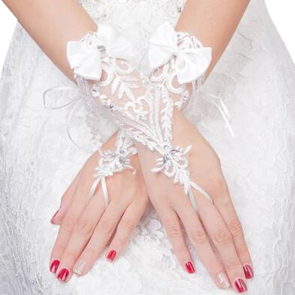 Elegant Lady Formal Banquet Party Bride Pierced Lace Wedding Gloves Bridal Gloves, NO.23