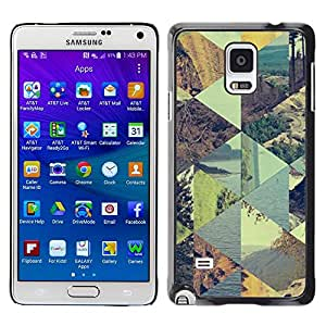 LECELL--Funda protectora / Cubierta / Piel For Samsung Galaxy Note 4 SM-N910 -- Checkered Summer Pattern Sky --