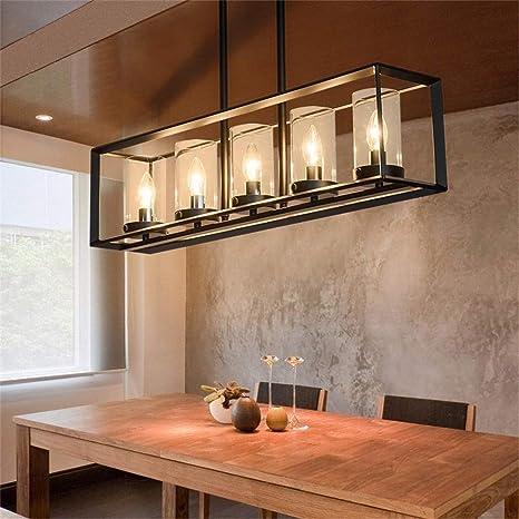 JinYuZe Black 5-Light Kitchen Island Light, Clear Glass Shade Metal Frame Linear Pendant Lighting, Pool Table Light For Living Room Dining Room Bedroom - - Amazon.com