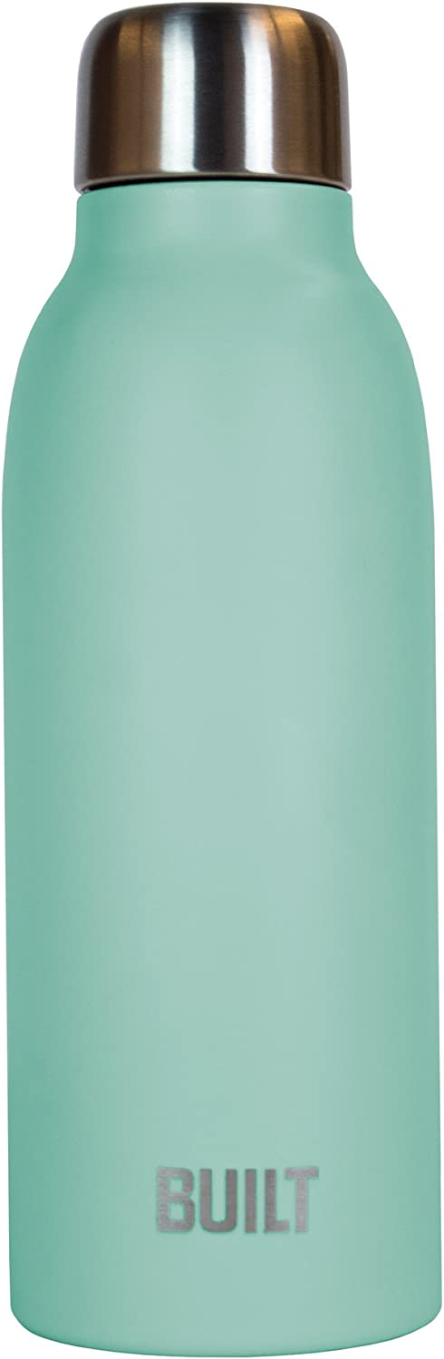 BUILT Perfect Seal Caliber Double Wall Vacuum Insulated Water Bottle, 18-Ounce, Mint