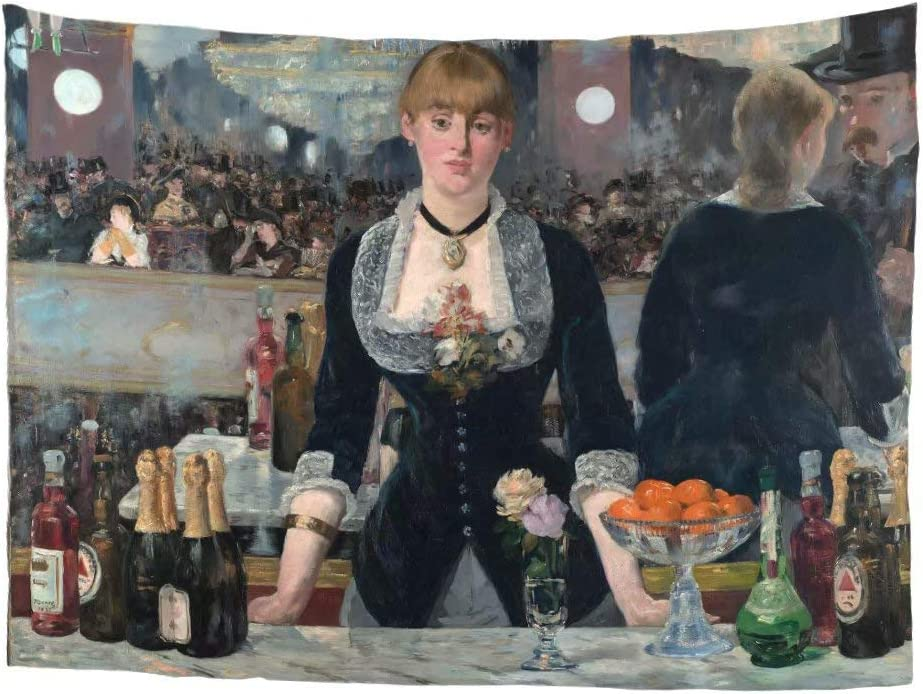 World Classic Art Masterpiece Tapestry Series Édouard Manet A Bar at The Folies-Bergère 1882. Classical Art Tapestry Wall-Hanging Antique Vintage Collection Home Décor