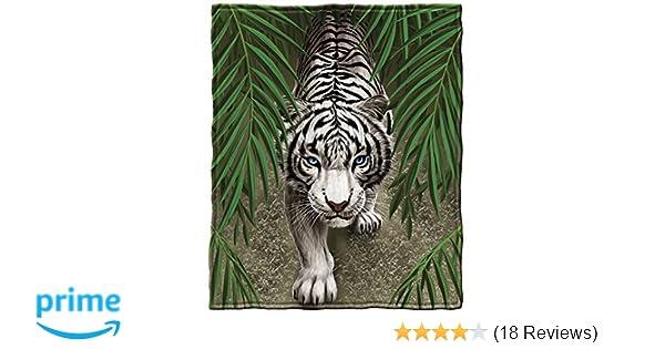 Dawhud Direct White Tiger Fleece Throw Blanket