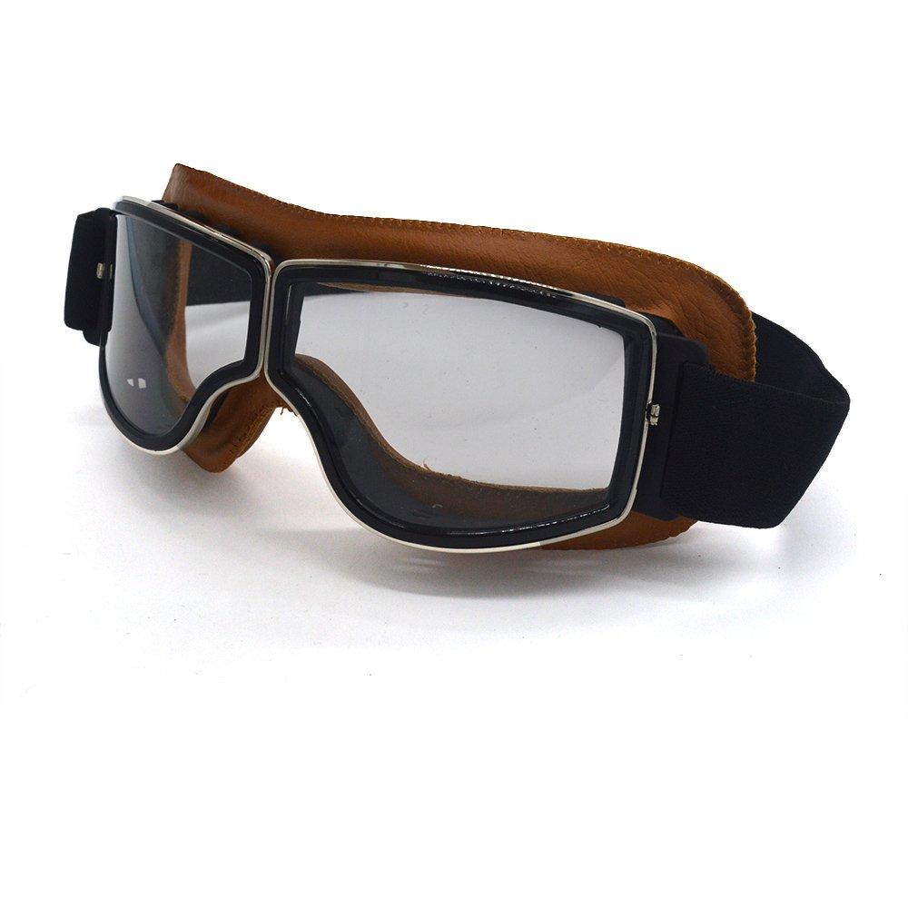 Copper Frame, Clear Lens evomosa Motocross Leather Goggles Over The Descriptions Glasses Open or Half Face Helmet women men sunglasses