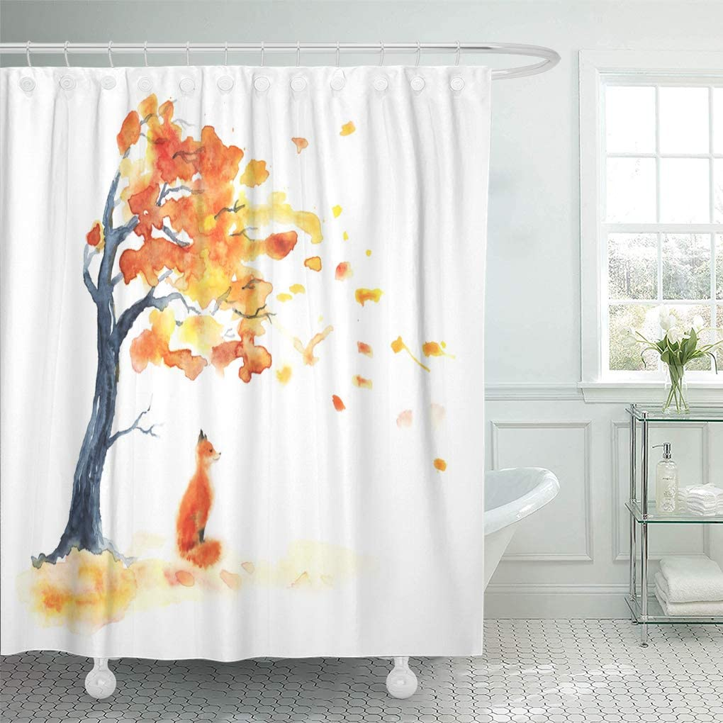 Watercolor Fox with Tribe Feather Accessories Shower Curtain Set Bathroom Decor