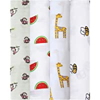 Swaddle wrap for New Born - Organic Muslin Cotton Pack of 4, Monkey, Watermelon, Giraffe and Bee (Unique) 120 X 120 cm