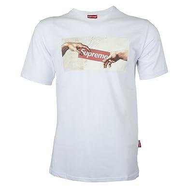 3ab28419783b Supreme Spain Herren T-Shirt T Shirt Tshirt Logo Kurzarm 100% Baumwolle Box  Streetwear Skate Weiss Grau Schwarz Rot.  Amazon.de  Bekleidung
