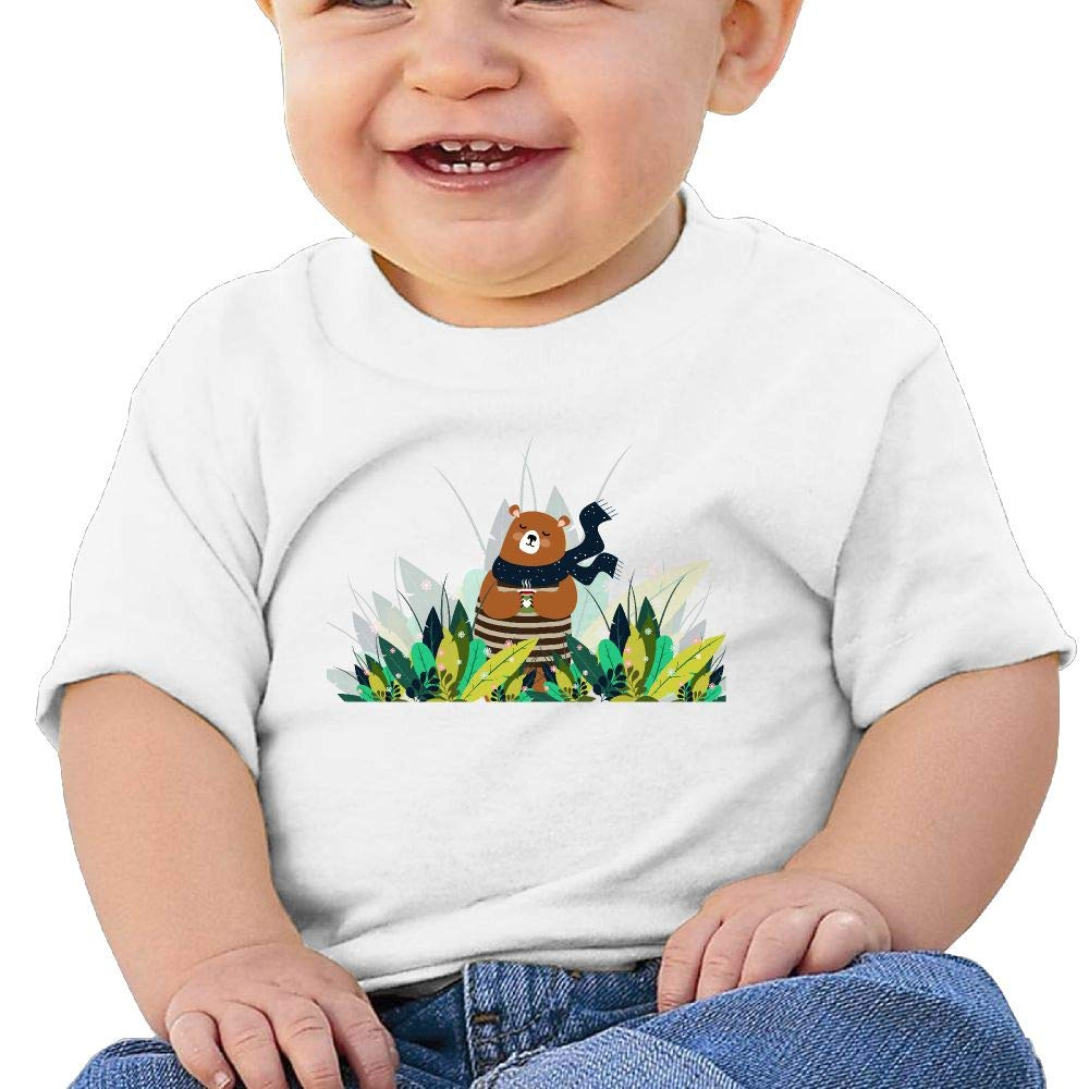 AiguanCoffee Bear Toddler//Infant Short Sleeve Cotton T Shirts White