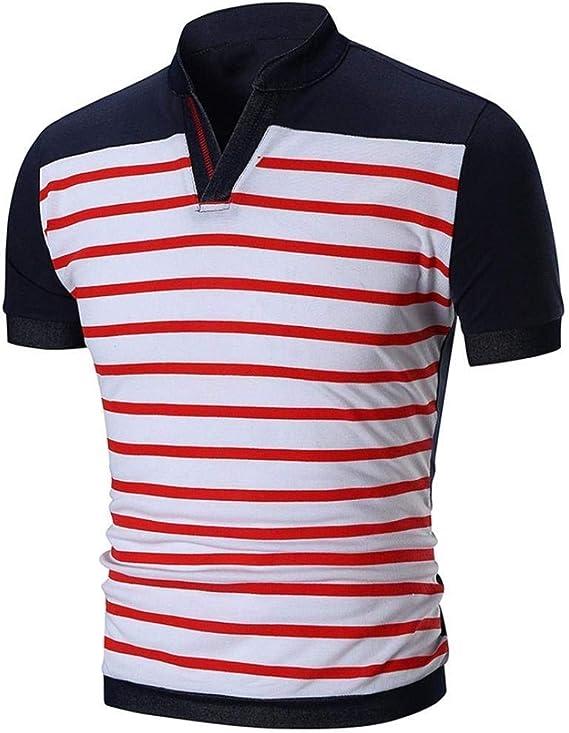 Lannister Fashion Camisa De Polo con Cuello En V De Retro Kanpola ...