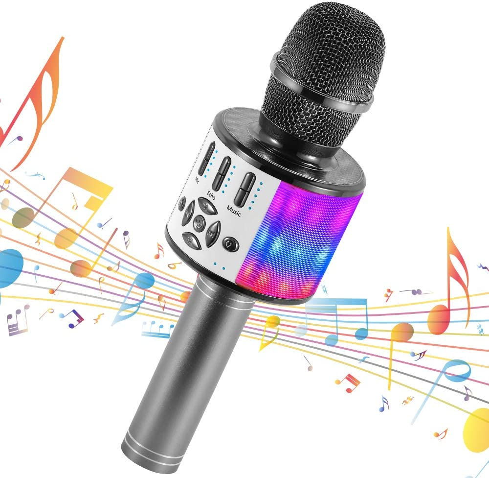 Amazmic Kids Karaoke Machine Microphone Toy 3-12 Years Old Boys Girls Portable Bluetooth Microphone Machine Handheld with LED Lights, Gift for Children's Birthday Party, Home KTV(Gray)