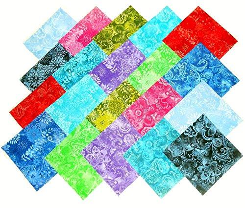 80 5'' Batik Tonal Quilting Fabric Charm Pack by Galaxy Fabrics