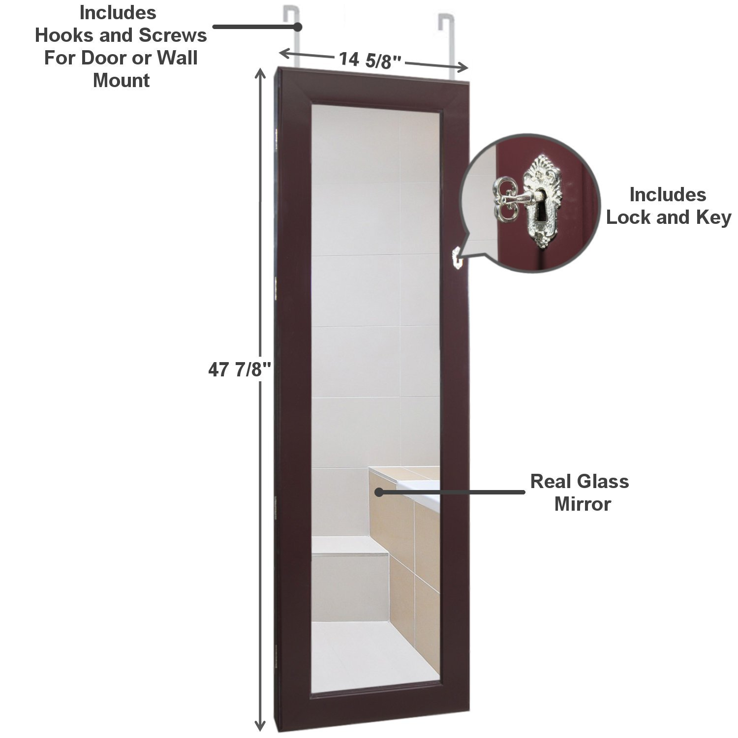 Lockable Jewelry Cabinet (Wall or Door Mount) with Full Length Mirror (Espresso Brown) Jewelry Armoire Organizer by Mayberry Health and Home (Image #3)