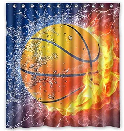 Basketball Never Stops Waterproof Bathroom Shower Curtain 66 X 72 By