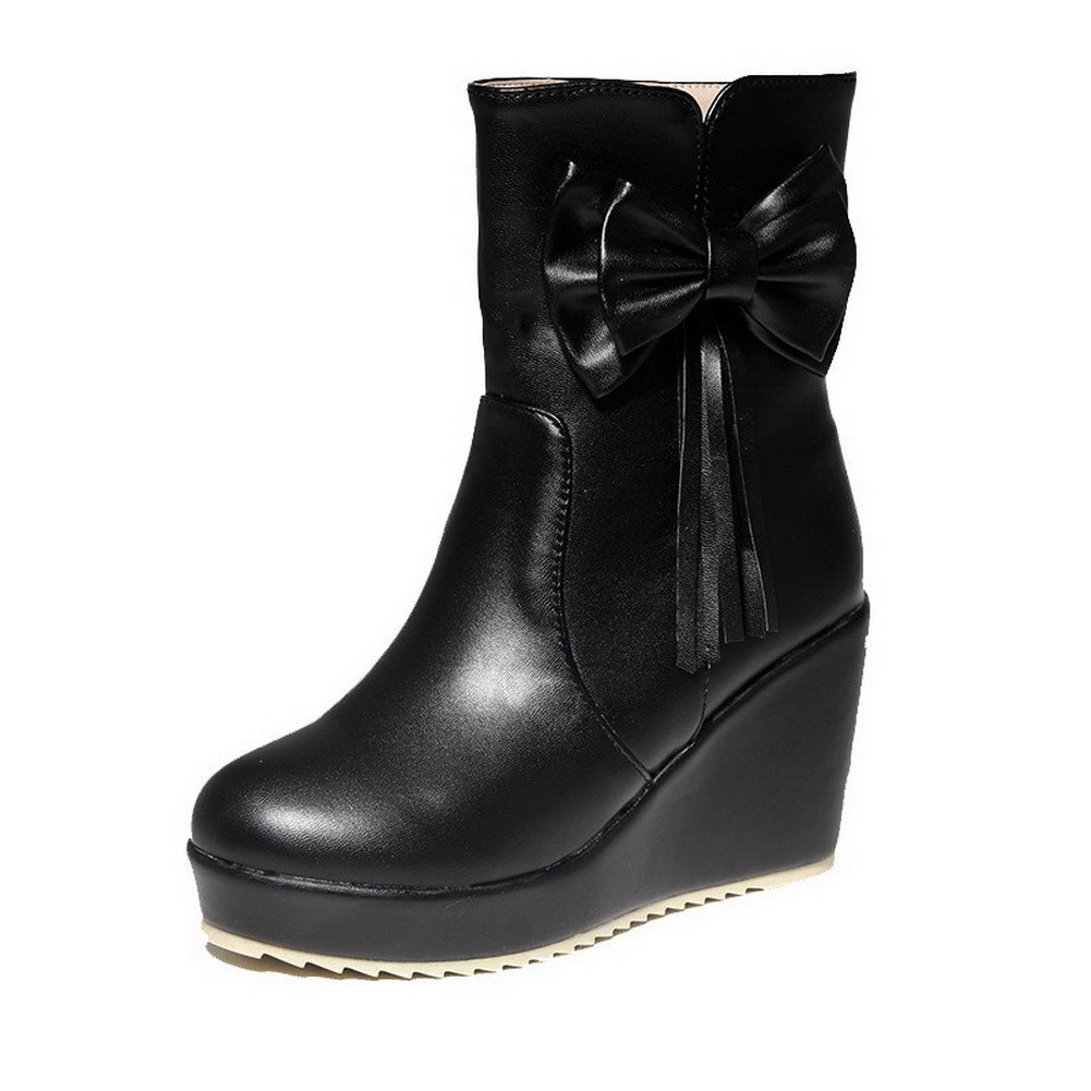 AmoonyFashion Women's Pull-On Mid-Top Pu High-Heels Round Closed Toe Solid Boots, Black-Bowknot, 39