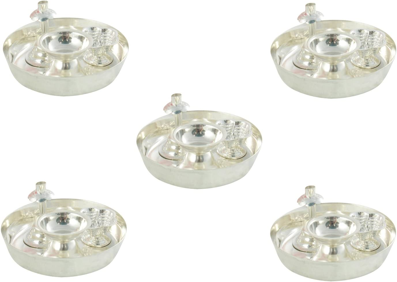 GoldGiftIdeas 4PS Plus (4 Inch) Silver Plated Pooja Thali Set (Pack of 5), Pooja Thali Decorative Plate, Return Gift for Wedding and Housewarming