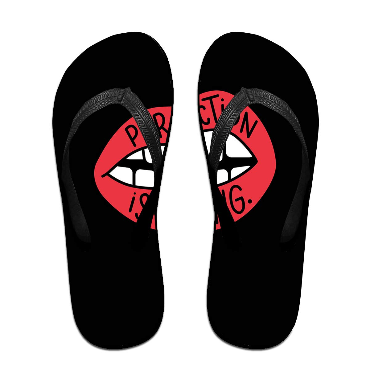 Lojaon Couple Slipper Perfection is Boring Print Flip Flops Unisex Chic Sandals Rubber Non-Slip Beach Thong Slippers