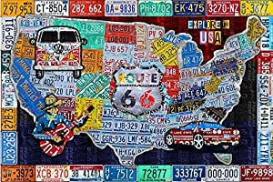 Amazon.com: Faicai Art The USA License Plate Map Art Collage ...