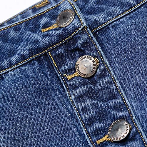 Marca Lunghe In Gonne A 77 Donna Altalena Ladies Vita Denim Button Down Jean Estate Svasato Gonna Casual Di Blau Pieghe Elastica Mini Line Maxi Bolawoo Mode q7gwOnAWg
