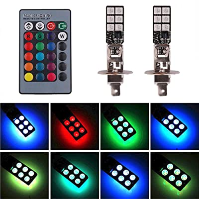 H1 RGB LED Fog Lights Bulb Amber Yellow White Multicolor 16 Color Changing Switch Kit Strobe Lamp Bulbs for Car Trucks Remote Control Switch Plug and Play 12V 5050SMD Replacement Pack of 2【1797】: Automotive